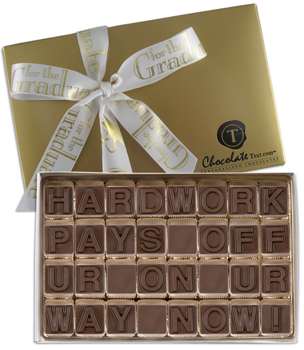 Chocolate Text - Hard Work Pays Off Ur-On-Ur Way Now!-with imprinted ribbon