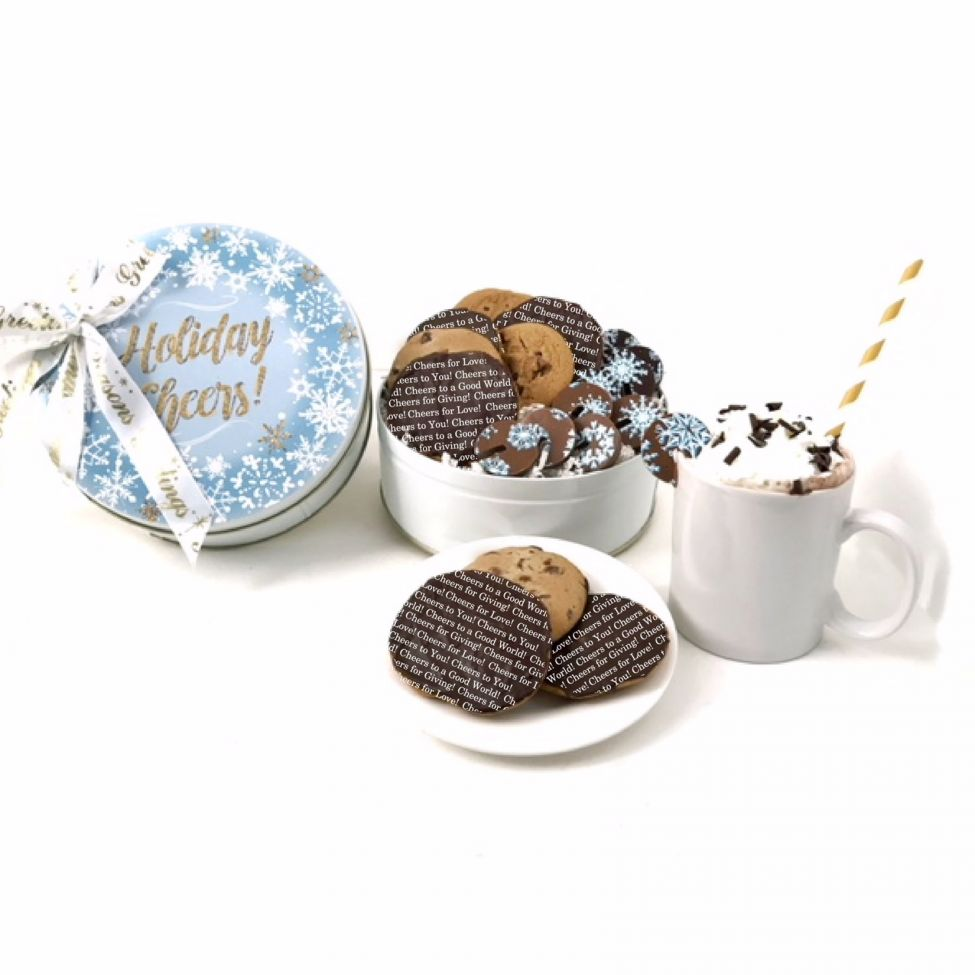 Chocolate Text - Chocolate Cheers for Charity gift tin-with imprinted ribbon
