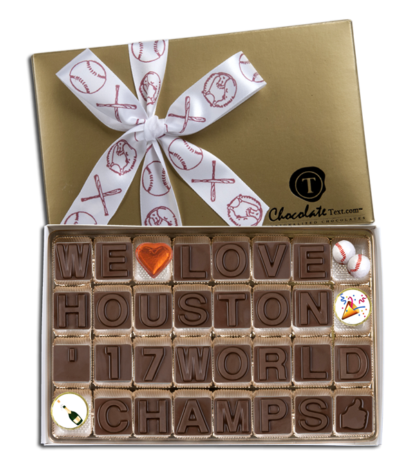 Chocolate Text - Baseball: We Love Houston '17 World Champs -with chocolate baseballs, emojis and imprinted ribbon