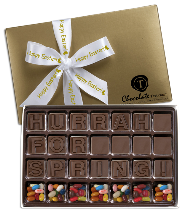 Chocolate Text - Hurrah-For-Spring!--with Jelly Belly jelly beans & imprinted ribbon