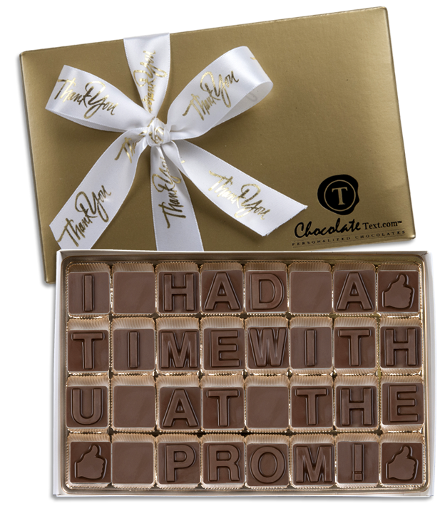 Chocolate Text - I Had A Great Time With U At The Prom-with imprinted ribbon