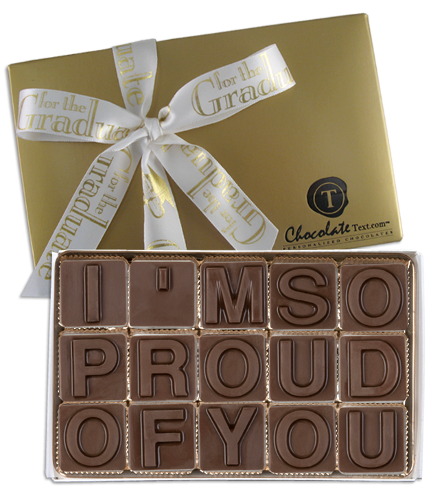 Chocolate Text - I'm So Proud Of You-with imprinted ribbon