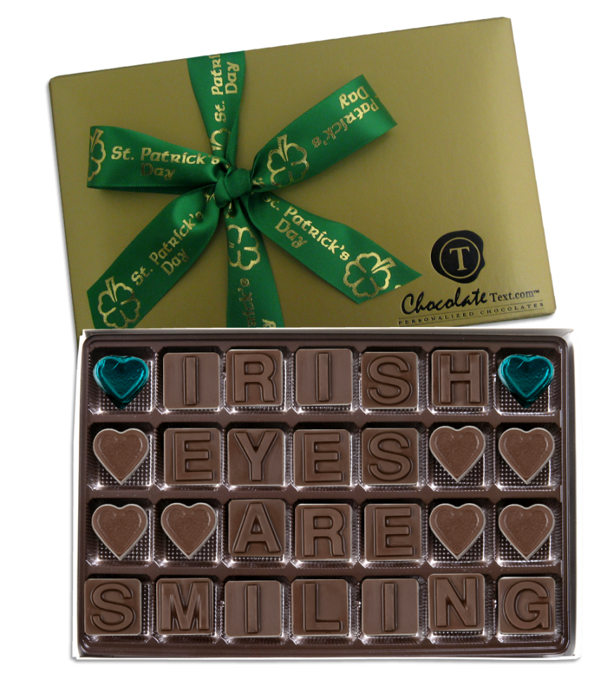Chocolate Text - Irish Eyes Are Smiling-with imprinted ribbon