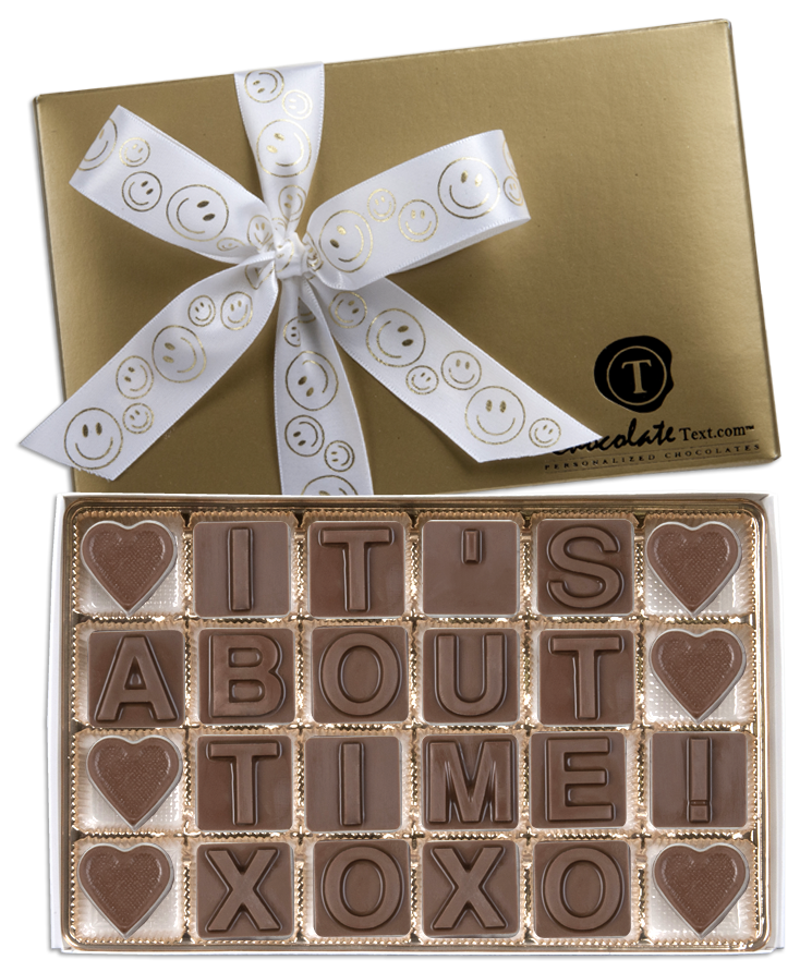 Chocolate Text - It's About Time-with imprinted SMILEY ribbon