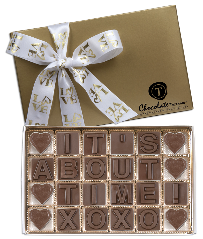 Chocolate Text - It's About Time-with imprinted LOVE ribbon
