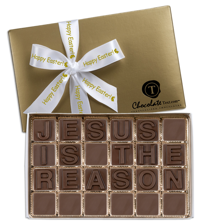 Chocolate Text - Jesus Is The Reason-with imprinted ribbon