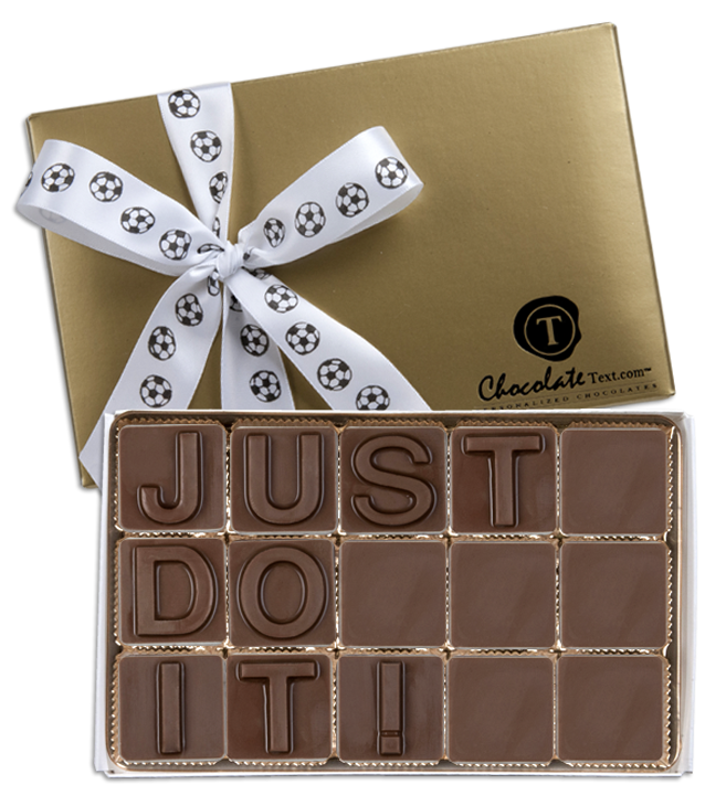 Chocolate Text - Just Do It!-with imprinted ribbon