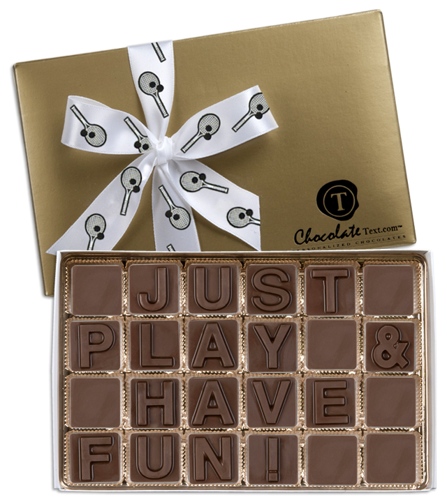 Chocolate Text - Just-Play & Have Fun!-with imprinted ribbon