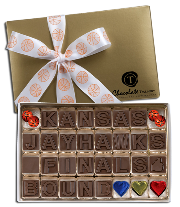 Chocolate Text - Kansas-Jayhawks-Finals Bound-with imprinted ribbon