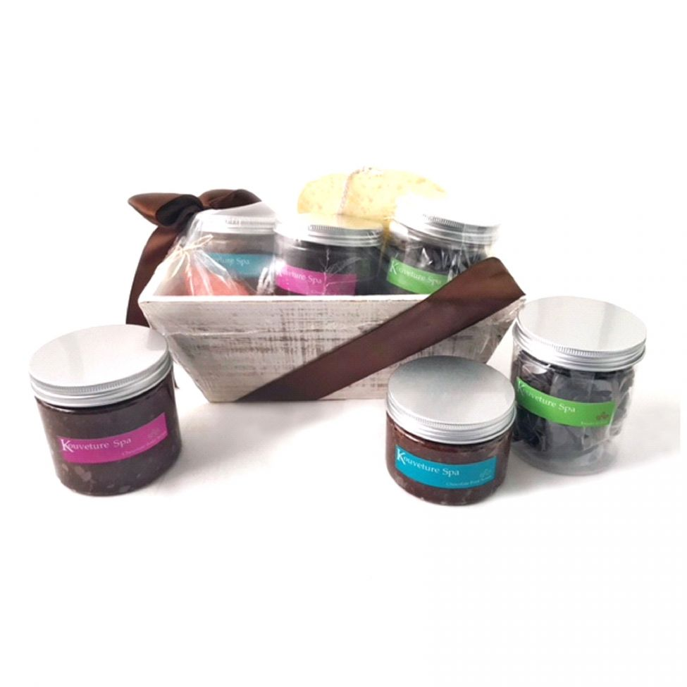 Chocolate Text - Kouveture Spa gift box- includes Body and Foot Scrub and treats -with imprinted ribbon