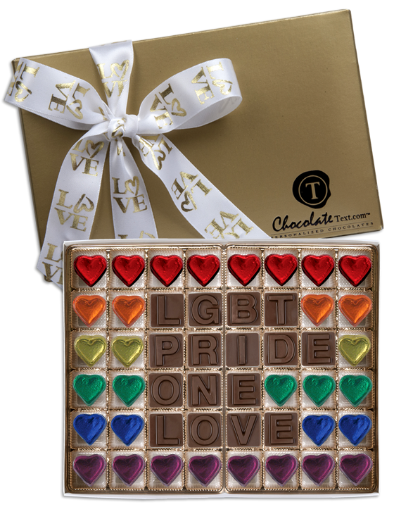 Chocolate Text - LGBT Pride One Love-with imprinted ribbon