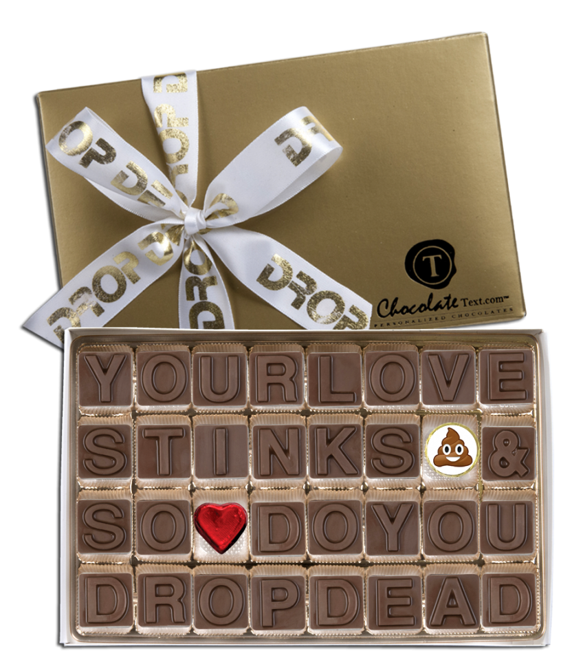 Chocolate Text - CHOCOLATE HATE MAIL Break-Up in chocolate with