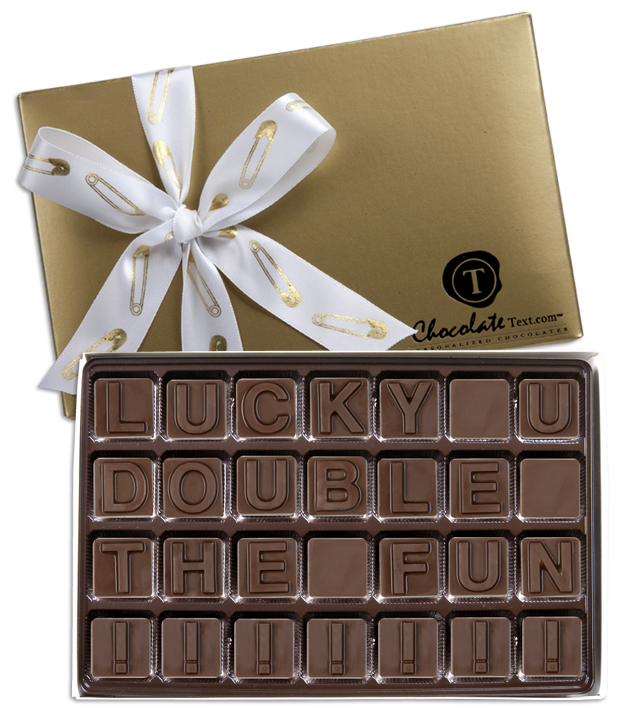 Chocolate Text - Lucky U Double The Fun!.png-with imprinted ribbon