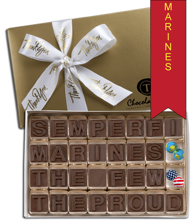 Chocolate Text - Marines - Semper Fi The Few The Proud with Thank You Ribbon