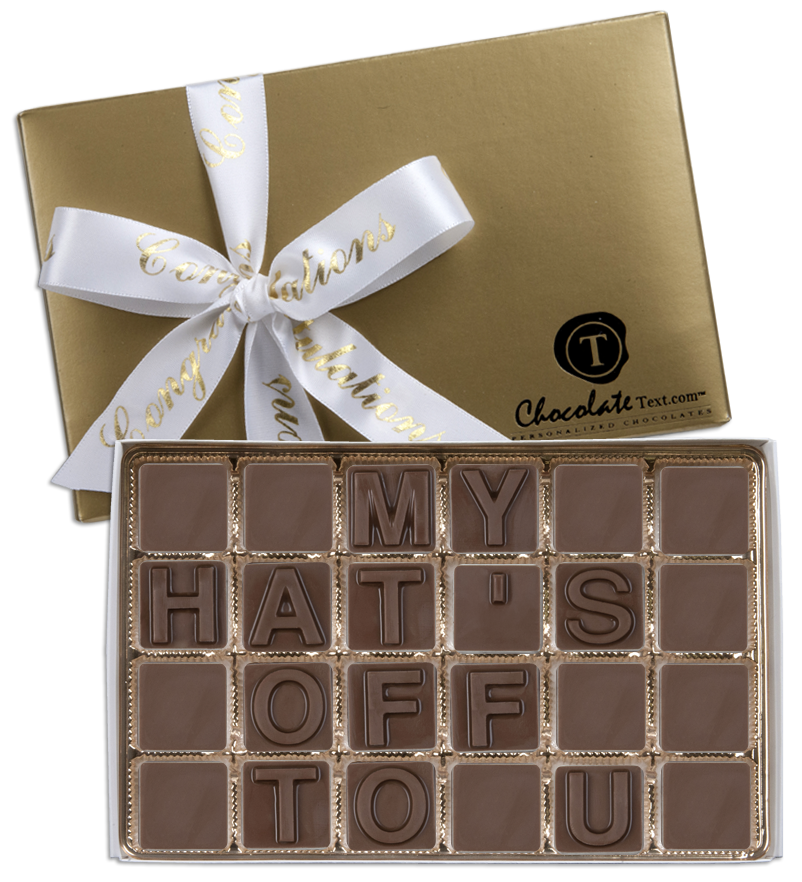 Chocolate Text - My-Hat's-Off-To-U-with imprinted ribbon