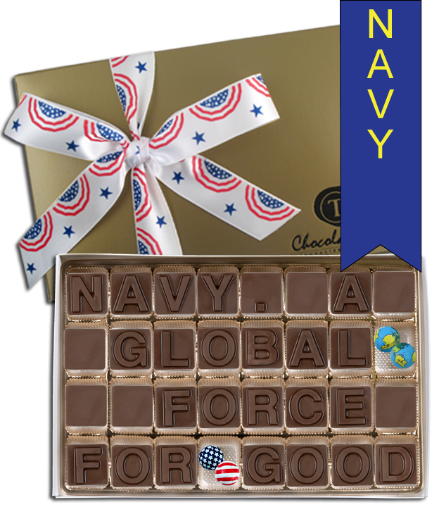 Chocolate Text - Navy - A Global Force For Good with Patriotic Ribbon