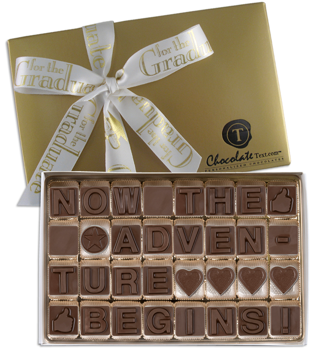Chocolate Text - Now The Adventure Begins-with imprinted ribbon