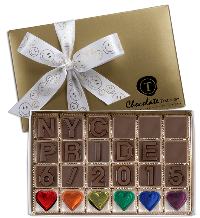 Chocolate Text - NYC Pride 6-2015-with imprinted ribbon