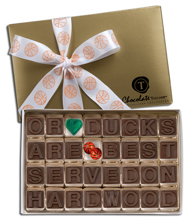 Chocolate Text - OR Ducks Are Best Served On Hard Wood-with imprinted ribbon