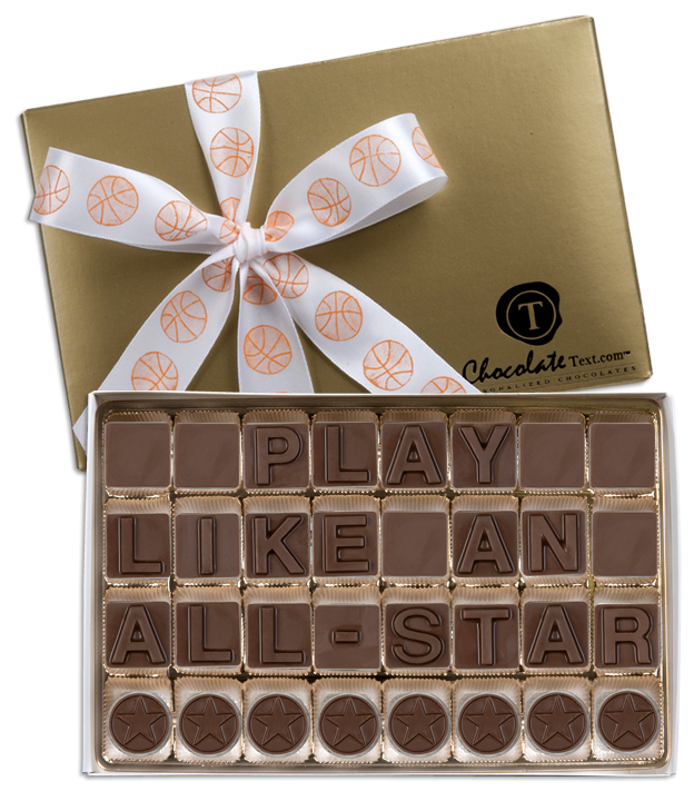 Chocolate Text - Play-Like-An-All-Star-with imprinted ribbon