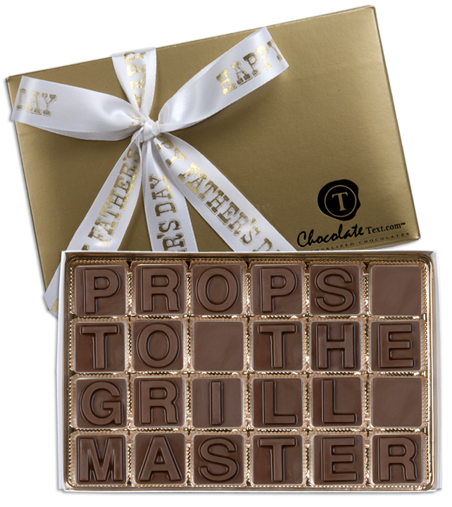 Chocolate Text - Props To The Grill Master-with imprinted ribbon