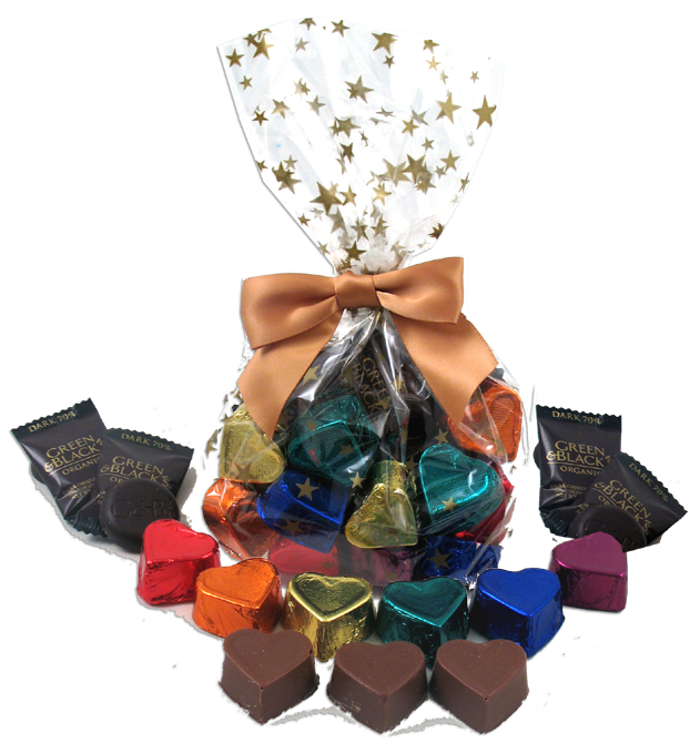 Chocolate Text - Gift Bag with Rainbow Foiled Hearts & Organic Chocolates [6 oz.]