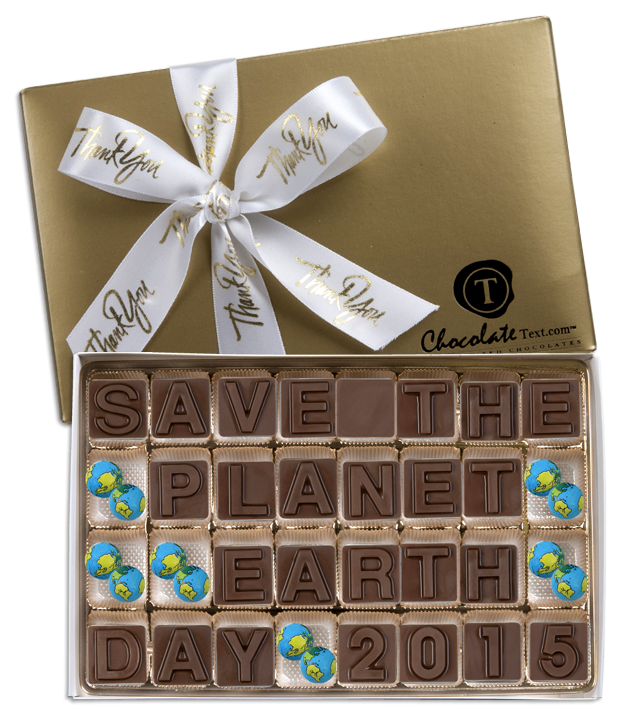 Chocolate Text - Save The Planet - Earth Day 2015-with imprinted ribbon & chocolate Earth Balls