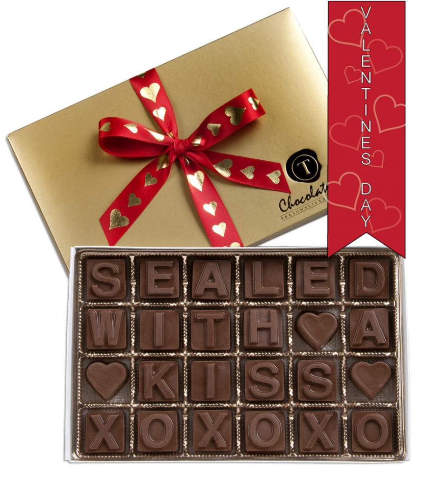 Chocolate Text - Sealed with a Kiss-with imprinted ribbon - Military