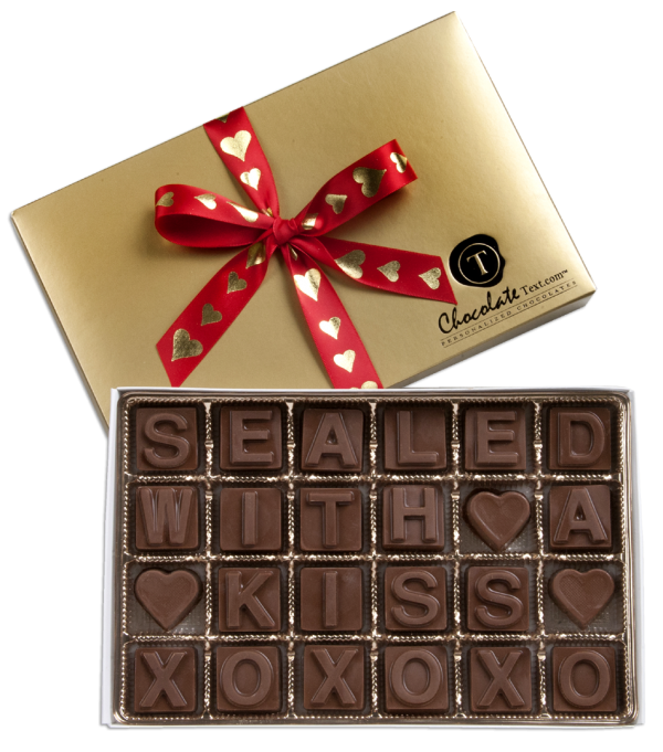 Chocolate Text - Sealed with a Kiss-with imprinted ribbon