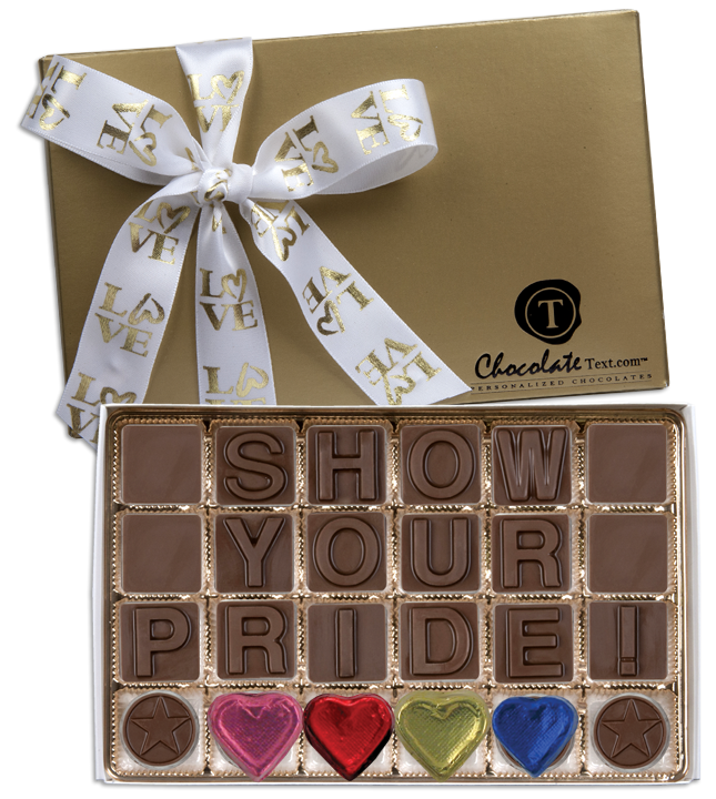 Chocolate Text - Show Your Pride!-with imprinted LOVE ribbon and foiled hearts