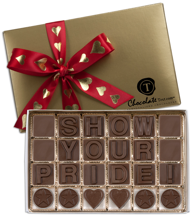 Chocolate Text - Show Your Pride!-with imprinted HEART ribbon