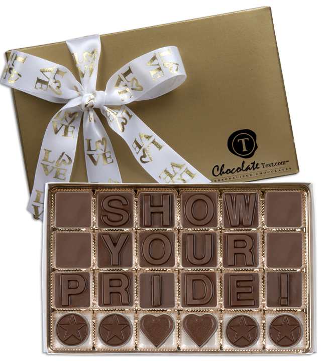 Chocolate Text - Show Your Pride!-with imprinted LOVE ribbon