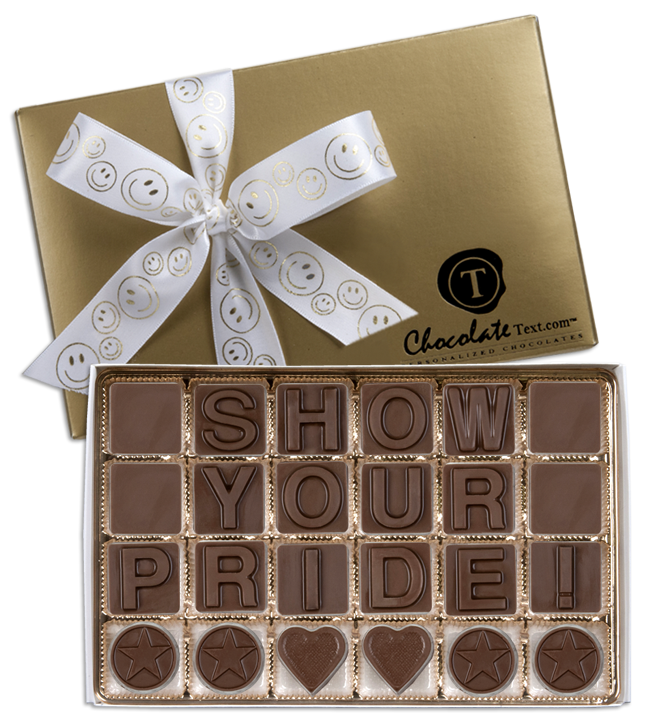 Chocolate Text - Show Your Pride!-with imprinted SMILEY FACE ribbon
