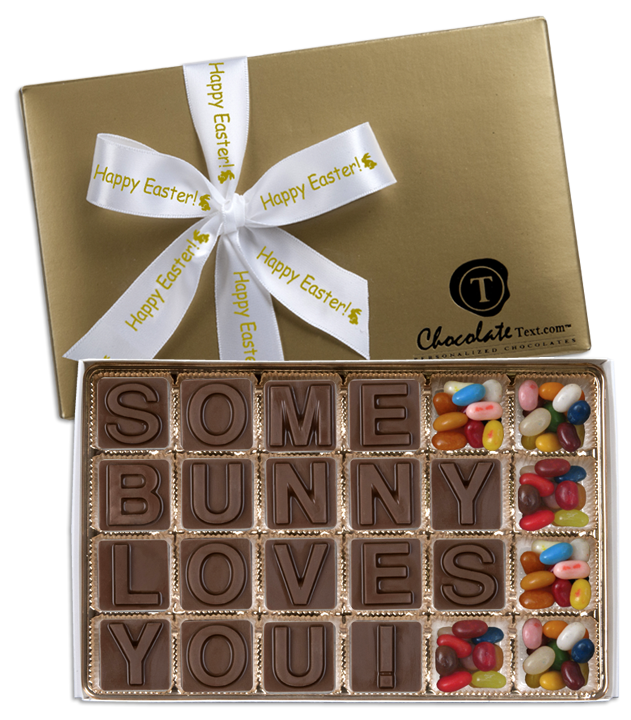 Chocolate Text - Some Bunny Loves You!--with Jelly Belly jelly beans & imprinted ribbon