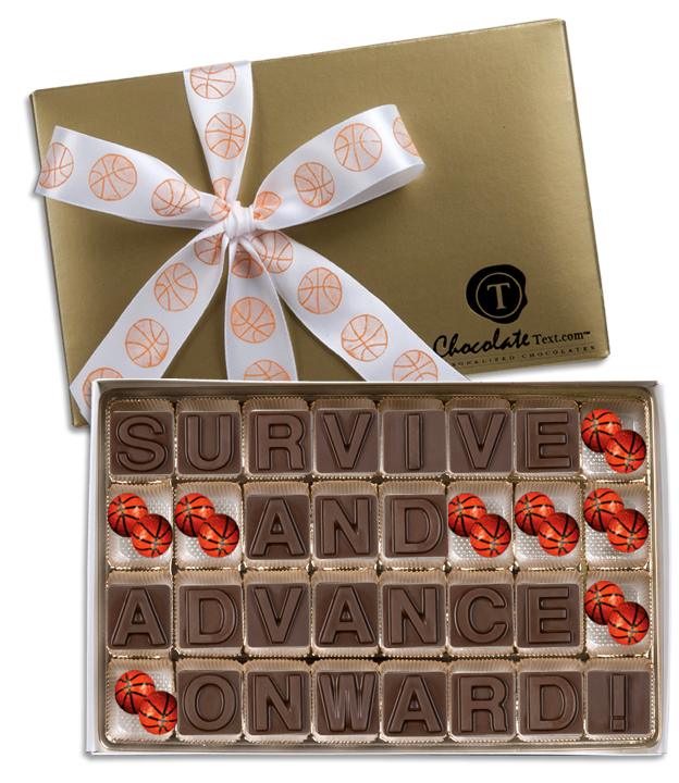 Chocolate Text - Survive and Advance Onward!-with imprinted ribbon