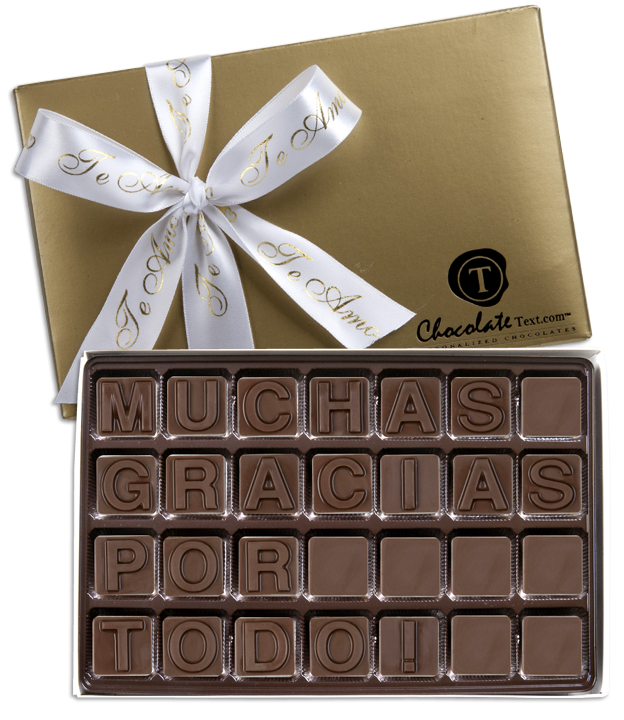 Chocolate Text - Te-Amo-with imprinted ribbon