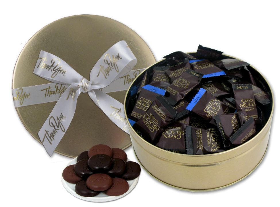 Chocolate Text - Thank You Earth Day Tin - with 100 Green & Black's Organic Chocolates & imprinted ribbon