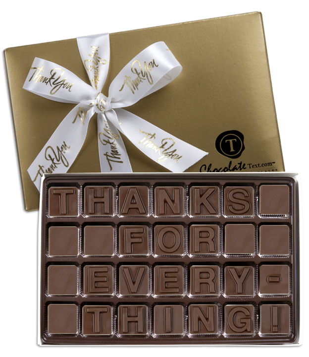 Chocolate Text - Thanks For Everything!-with imprinted ribbbon