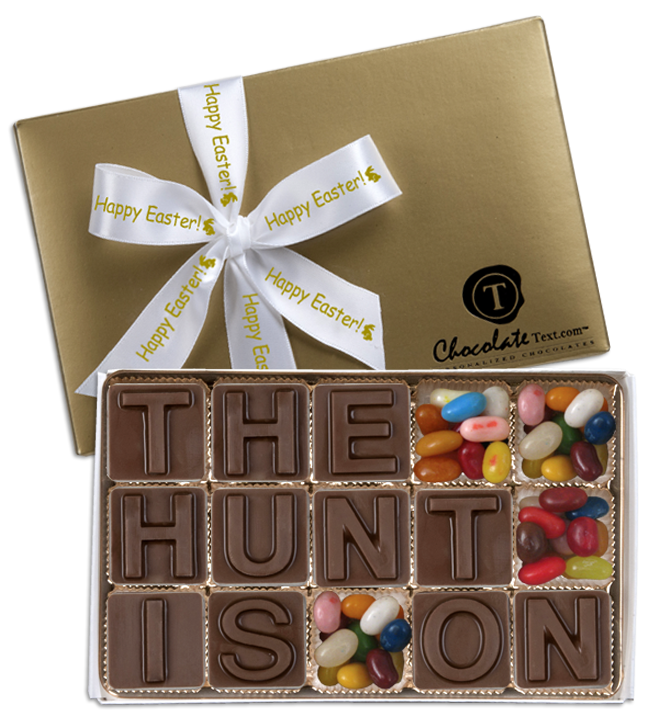 Chocolate Text - The Hunt Is On--with Jelly Belly jelly beans & imprinted ribbon