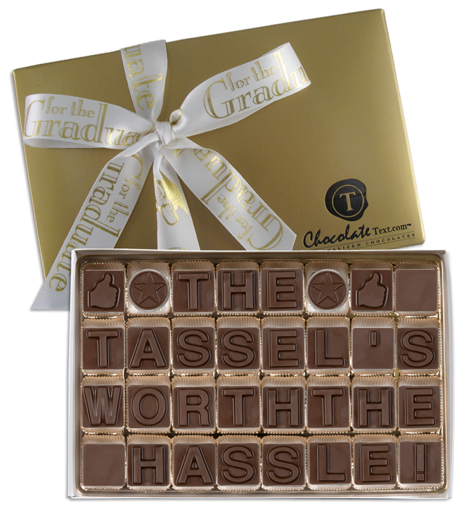 Chocolate Text - The Tassel's Worth The Hassle-with imprinted ribbon