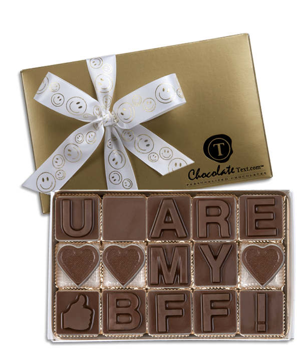 Chocolate Text - U Are My BFF-with imprinted ribbon