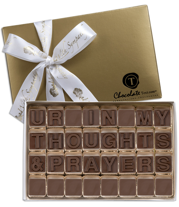 Chocolate Text - Ur-In-My-Thoughts-&-Prayers-with imprinted ribbon