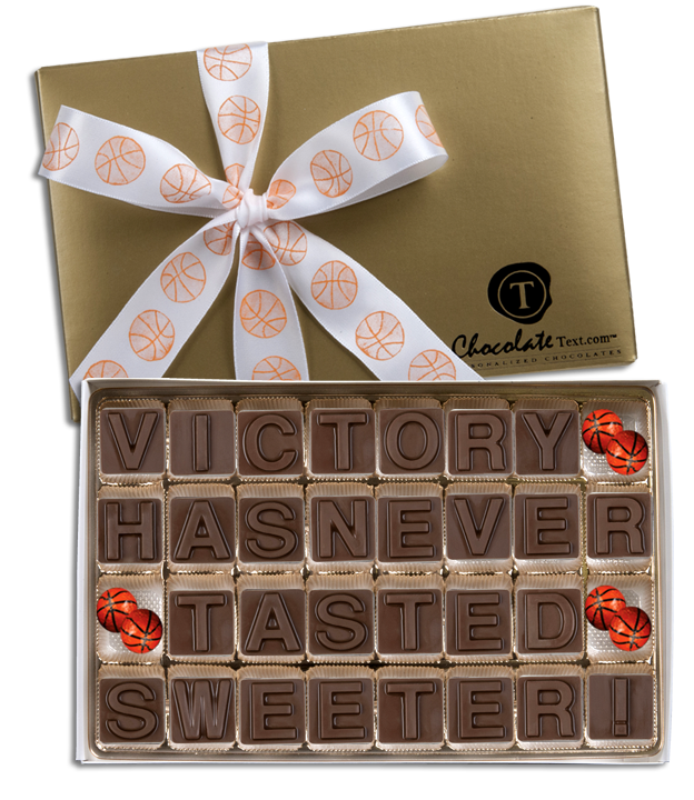 Chocolate Text - Victory Has Never Tasted Sweeter-with imprinted ribbon