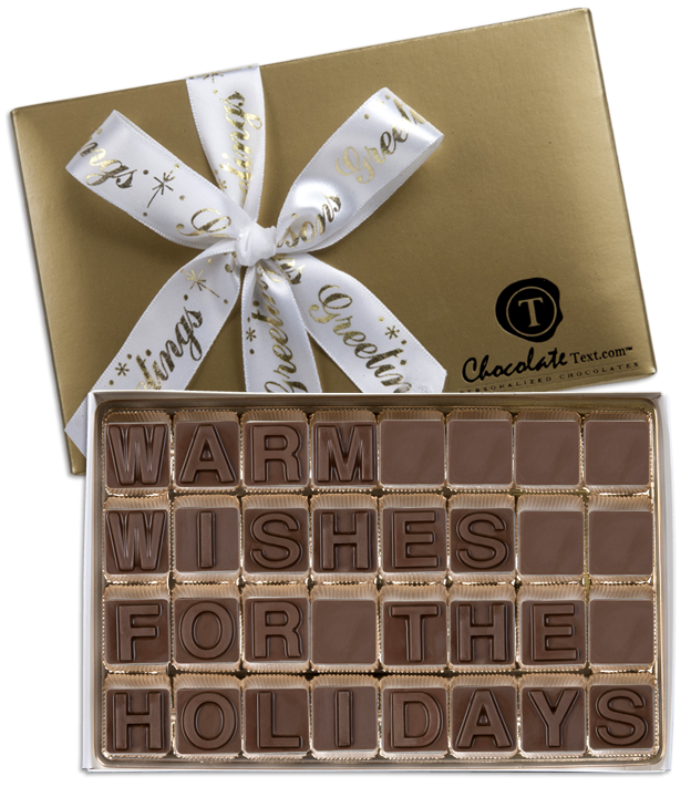 Chocolate Text - Warm-Wishes-For-The-Holidays-with imprinted ribbon