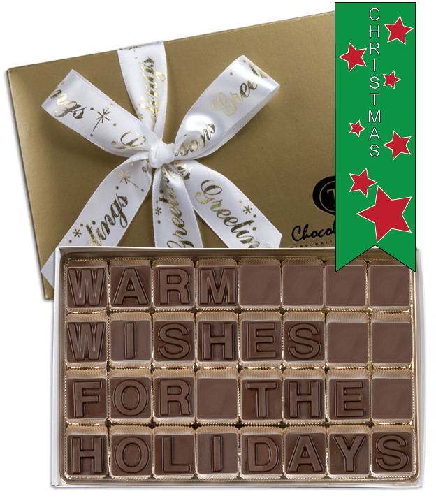 Chocolate Text - Warm Wishes For The-Holidays - with imprinted ribbon - Military