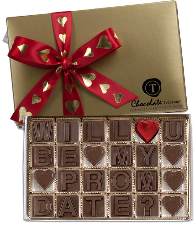Chocolate Text - Will You Be My Prom Date?-with imprinted hearts ribbon