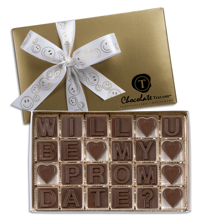 Chocolate Text - Will You Be My Prom Date?-with imprinted Smiley ribbon