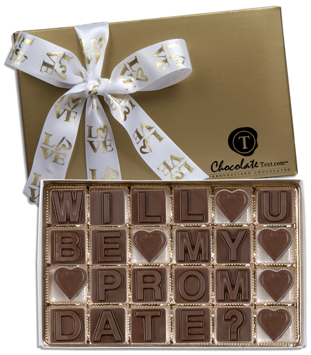 Chocolate Text - Will You Be My Prom Date?-with Love imprinted ribbon