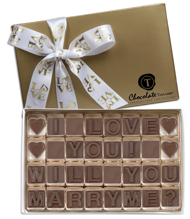 Chocolate Text - I Love You - Will You Marry Me-with imprinted ribbon