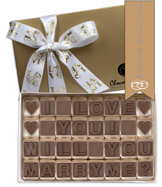 Chocolate Text - Will You Marry Me - I Love You! - with imprinted ribbon - Military